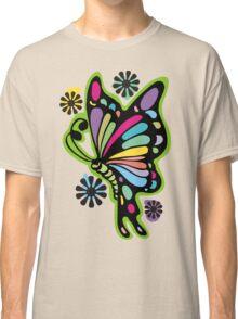 Rainbow color butterflies hippie flowers Classic T-Shirt