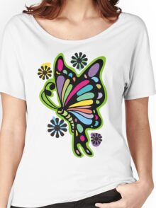 Rainbow color butterflies hippie flowers Women's Relaxed Fit T-Shirt