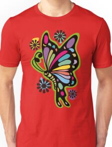 Rainbow color butterflies hippie flowers Unisex T-Shirt