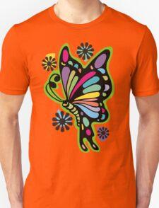 Rainbow color butterflies hippie flowers T-Shirt