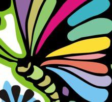 Rainbow color butterflies hippie flowers Sticker