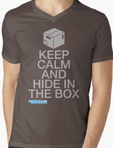 Keep Calm And Hide In The Box Mens V-Neck T-Shirt
