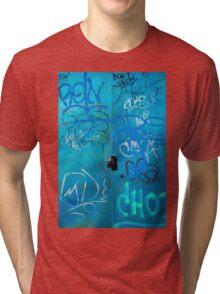 Blue Punk Style Street Graffiti Tri-blend T-Shirt