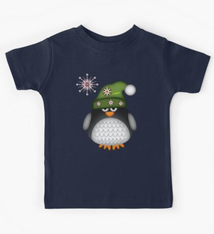 Cute Green Hat Baby Penguin Kids Tee
