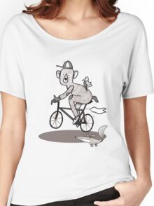 Bear on bike with Fox and Bird Women's Relaxed Fit T-Shirt