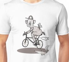 Bear on bike with Fox and Bird Unisex T-Shirt