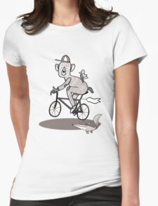 Bear on bike with Fox and Bird Womens Fitted T-Shirt