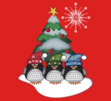 Three Cute Penguins and a Christmas Tree Kids Clothes