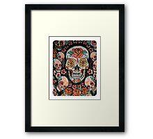 skull with flowers Framed Print