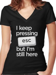 I keep pressing esc but I am still here Women's Fitted V-Neck T-Shirt