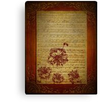 Vintage Sheet Music And Flowers Canvas Print