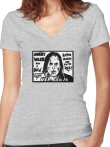 ANGRY WALKER HAS HERD Women's Fitted V-Neck T-Shirt
