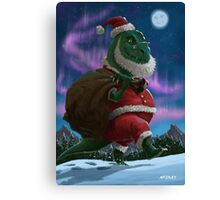 Dinosaur Christmas Santa out in the snow Canvas Print