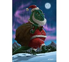 Dinosaur Christmas Santa out in the snow Photographic Print