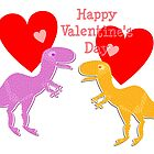 Cute T-Rex Love Hearts by cutecartoondino