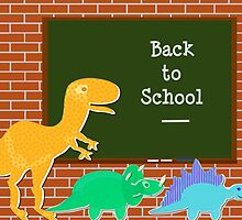 Back to School Cute Dinosaurs for Kids by cutecartoondino