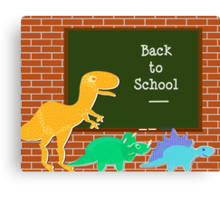 Back to School Cute Dinosaurs for Kids Canvas Print