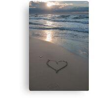 Heart at the beach Canvas Print