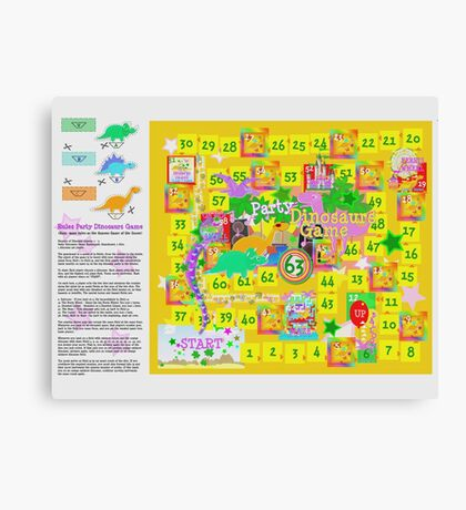 Dinosaur Party Game Board Canvas Print