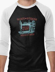 Funny seamstress vintage sewing machine Men's Baseball ¾ T-Shirt