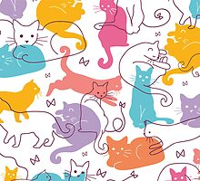 Colorful cats silhouettes pattern by oksancia