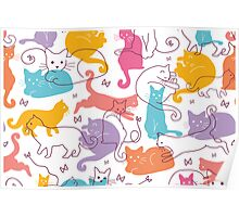 Colorful cats silhouettes pattern Poster