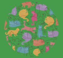 Colorful cats silhouettes pattern Kids Clothes