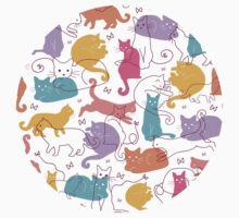 Colorful cats silhouettes pattern Baby Tee