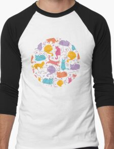 Colorful cats silhouettes pattern Men's Baseball ¾ T-Shirt