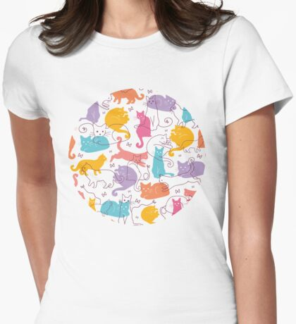 Colorful cats silhouettes pattern Womens Fitted T-Shirt