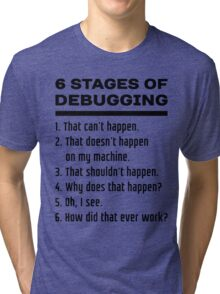 Six Stages of Debugging: Black Text Design for Programmers Tri-blend T-Shirt