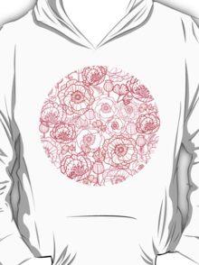 Poppies line art pattern T-Shirt