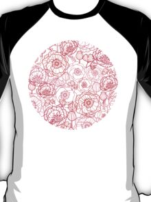 Poppies line art pattern T-Shirt