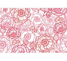 Poppies line art pattern Photographic Print