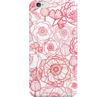 Poppies line art pattern iPhone Case/Skin