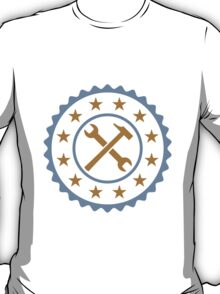 Round Craftsman Wrench And Hammer Logo T-Shirt
