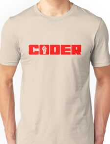Coder - Red Text for People who Write Code Unisex T-Shirt