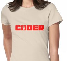 Coder - Red Text for People who Write Code Womens Fitted T-Shirt