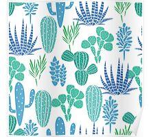 Succulents botanical blue and green cactus flora fabric print. Poster