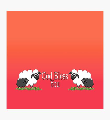 God Bless You with Sheep Photographic Print
