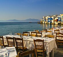 Preparing for Dinner, Mykonos by Barbara  Brown