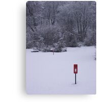 red postbox white snow Canvas Print