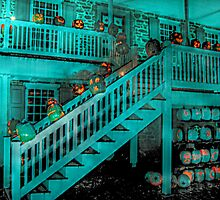 Jack-O-Lanterns Line the Rails of the Van Cortlandt Manor by Jane Neill-Hancock