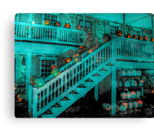 Jack-O-Lanterns Line the Rails of the Van Cortlandt Manor Canvas Print