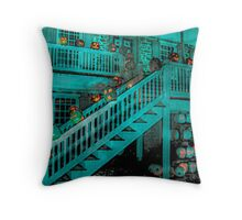 Jack-O-Lanterns Line the Rails of the Van Cortlandt Manor Throw Pillow