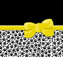 Ribbon, Bow, Dog Paws, Paw-prints - White Black Yellow by sitnica