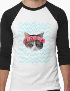 Kitty Cat Flower Crown Men's Baseball ¾ T-Shirt
