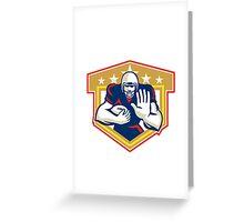 American Football Running Back Fending Shield Greeting Card