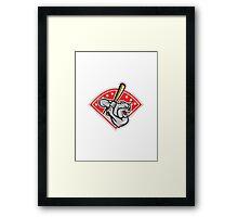 Bulldog Baseball Hitter Batting Cartoon Framed Print