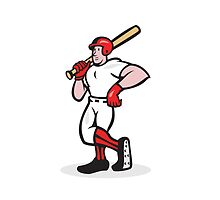 Baseball Hitter Bat Shoulder Cartoon by patrimonio